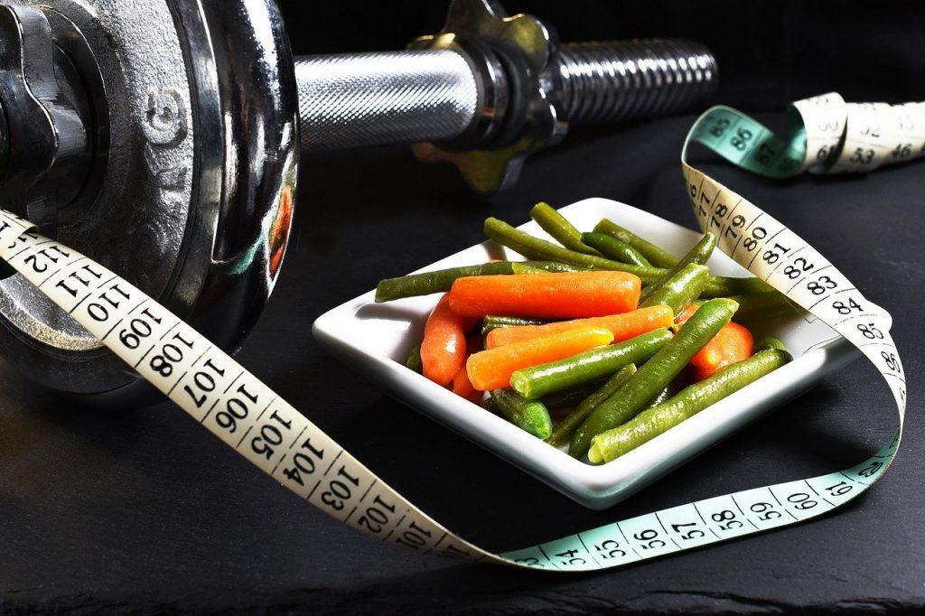 fitness, dumbbell, vegetables