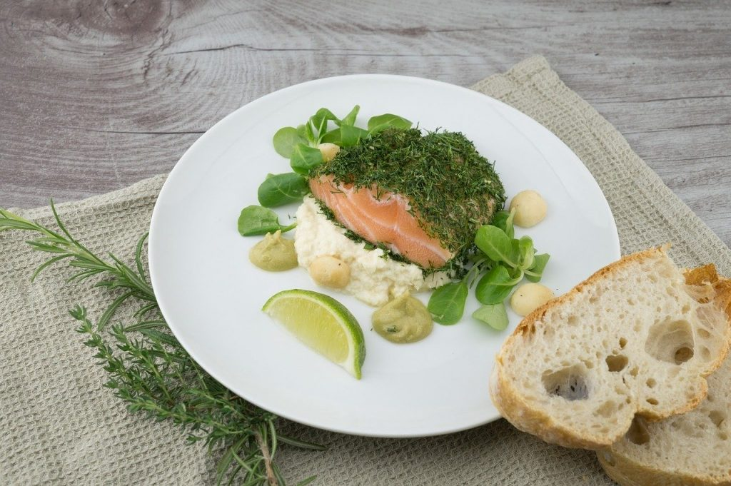 food, meal, salmon